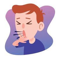 desenho animado criança tossindo sério vetor