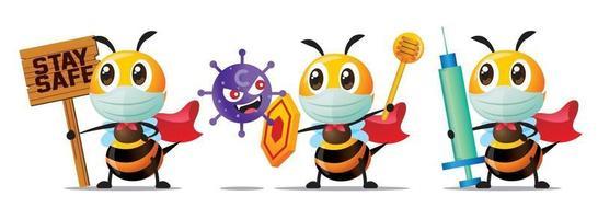 abelhas super-heróis fofas usando máscaras cirúrgicas e segurando agulha de seringa ou escudo ou placa de madeira segura para lutar contra o vírus covid19 e bactérias vetor