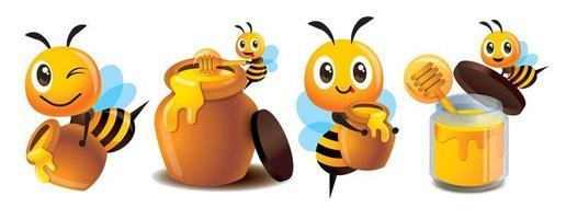 Desenho de abelha fofa carregando mel fresco e conjunto de pote de mel vetor