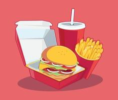 fast food conjunto saboroso vetor de fast food isolado no fundo branco