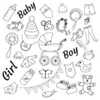 um conjunto de ilustrações vetoriais de doodle com coisas e brinquedos para crianças vetor