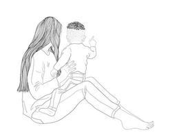 mãe e bebê olhando a vista vetor