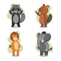 conjunto de caracteres de animais selvagens fofos vetor
