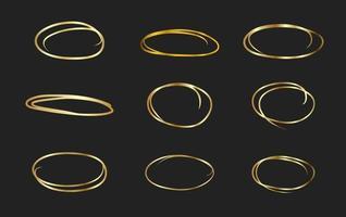 conjunto de moldura de ouro círculo vetor