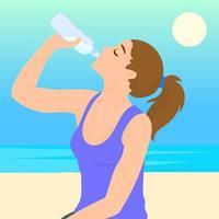 mulher está bebendo água de uma garrafa de plástico vetor