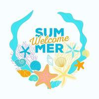 banner de verão com detalhes da temporada no fundo da onda vetor