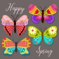 borboletas decorativas com ornamentos florais vetor