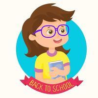linda garota feliz por voltar para a escola vetor