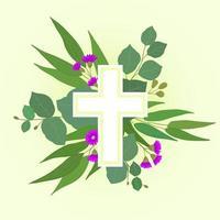 cruz cristã de folhas verdes e flores vetor
