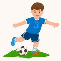 garotinho jogando futebol e chutando bola vetor