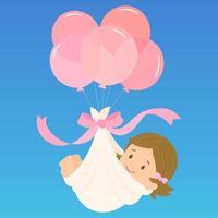 modelo fofo para cartão de anúncio da chegada do bebê vetor