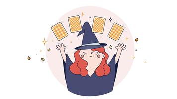 Vetor de tarô de leitura de bruxa