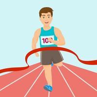 menino correndo maratona de vencedor de corrida vetor