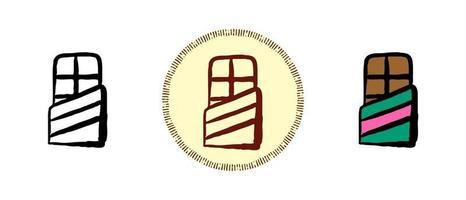contorno e símbolos coloridos e retrô de uma barra de chocolate vetor