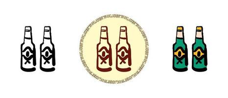 contorno e cor e símbolos retrô de garrafa de cerveja vetor