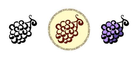 contorno, cor e símbolos retrô de um cacho de uvas vetor