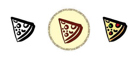 contorno e cor e símbolos retrô de uma fatia de pizza vetor