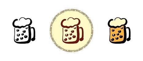 contorno e cor e símbolos retrô de uma caneca com cerveja vetor