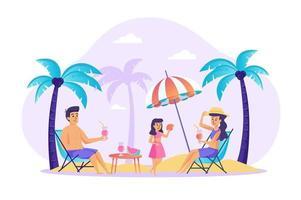 família descansando na praia conceito ilustração vetorial de personagens de pessoas em design plano vetor