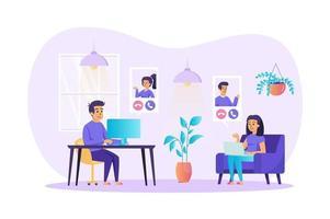 ilustração vetorial de conceito de videoconferência de personagens de pessoas em design plano vetor