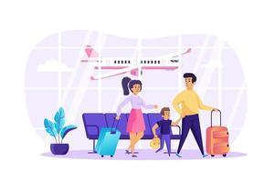 família com criança no conceito de terminal de aeroporto ilustração vetorial de personagens de pessoas em design plano vetor