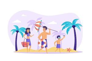 família na praia conceito ilustração vetorial de personagens de pessoas em design plano vetor