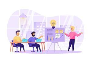 reunião de negócios e ilustração vetorial de conceito de trabalho em equipe de personagens de pessoas em design plano vetor