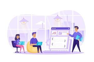 desenvolvimento web no conceito de escritório ilustração vetorial de personagens de pessoas em design plano vetor