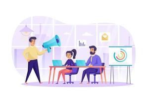 marketing digital e trabalho em equipe no conceito de escritório ilustração vetorial de personagens de pessoas em design plano vetor