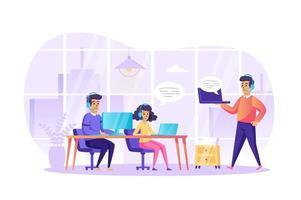 atendimento ao cliente no escritório conceito ilustração vetorial de personagens de pessoas em design plano vetor