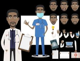 jovem profissional médico afro-americano vetor