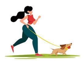 linda mulher caminhando com seu cachorro vetor