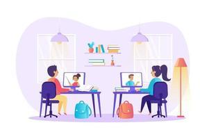 ilustração em vetor conceito de ensino à distância e educação online de personagens de pessoas em design plano