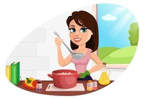 linda mulher cozinhando em sua cozinha vetor
