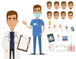 jovem médico profissional pacote de partes do corpo e emoções vetor