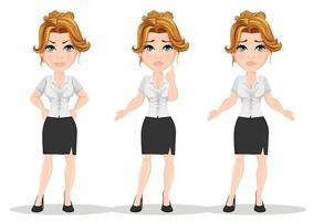 jovem empresária linda personagem de desenho animado com emoções diferentes vetor