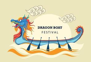 festival do barco dragão chinês vetor