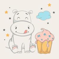 hipopótamo fofo sentado perto de um grande bolo vetor