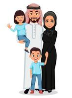 feliz família árabe pai mãe filho filha vetor