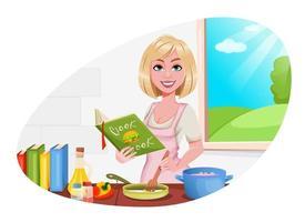 mulher cozinhando em casa menina alegre vetor
