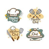etiquetas de chapéu de chef de modelo de logotipo de restaurante vetor