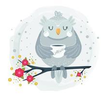 coruja fofa sentada no galho tomando café vetor
