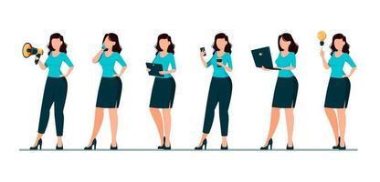 mulher de negócios personagem de desenho animado conjunto de seis poses vetor