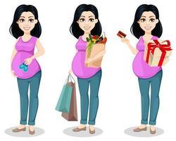 linda mulher grávida vetor