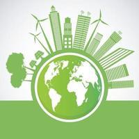 Ecologia e conceito ambiental símbolo da terra com folhas verdes ao redor das cidades ajudam o mundo com ideias ecológicas vetor