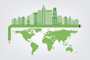 Ecologia de lápis e cidade de conceito ambiental com ideias ecologicamente corretas vetor