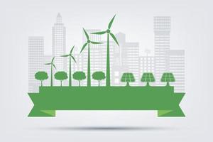 conceito de cidade ecológica e meio ambiente com ideias ecologicamente corretas vetor