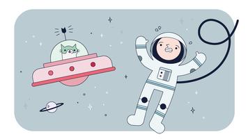 Vetor de gato espacial