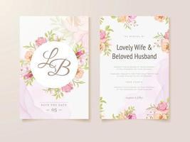 modelo de conceito floral de cartão de convite de casamento com flores e folhas vetor