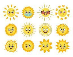 ícones de sol com diferentes emoções máscara médica e óculos de proteção isolados no fundo branco símbolo primavera e verão vetor
